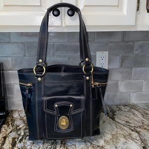 Coach Black Leather Gigi Legacy Tote Bag